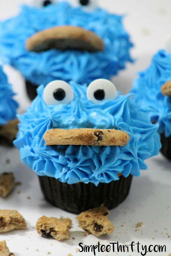 We have made some Cookie Monster Chocolate Cupcakes to go with your Cookie Monster Ice Cream! These will make for a great Cookie Monster themed birthday party! Make these awesome cupcakes for a school treat, bake sale or just for fun with the kids!
