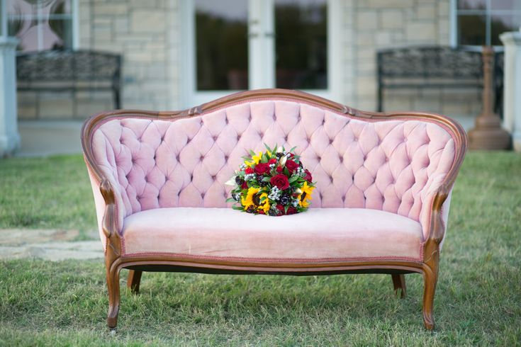 Anna Marie's Gorgeous Bridal at The Castle at Rockwall with our vintage pink settee from rentmydust.com #bride #bridal #vintagebride #beautifulbride #autumnbride #dallasbride #floralcrown #castlewedding #castle