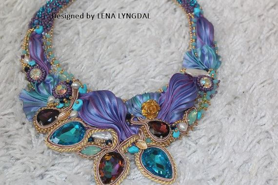 Collar made with shibori silk, very beautiful and elegant necklace ,Natural turquoise stone and pearls, swarovski ,Jewelry,accessorie on Etsy, $483.16 AUD