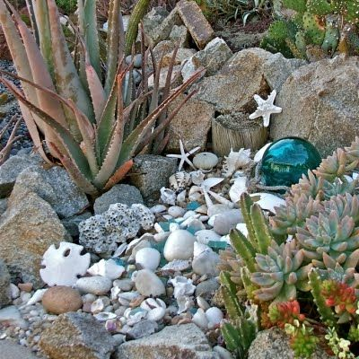 ah, hyperventilating! This is EXACTLY the look I'd love to have in our San Diego front yard, succulents (which I tend to actually be able to keep alive!) along with the coastal theme. One of her other photos even has Hot Wheels in the rocks. could it be more perfect (my son is 9)