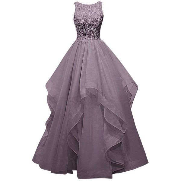 Dresstells Long Prom Dress Asymmetric Bridesmaid Dress Beaded Organza... (£61) ❤…