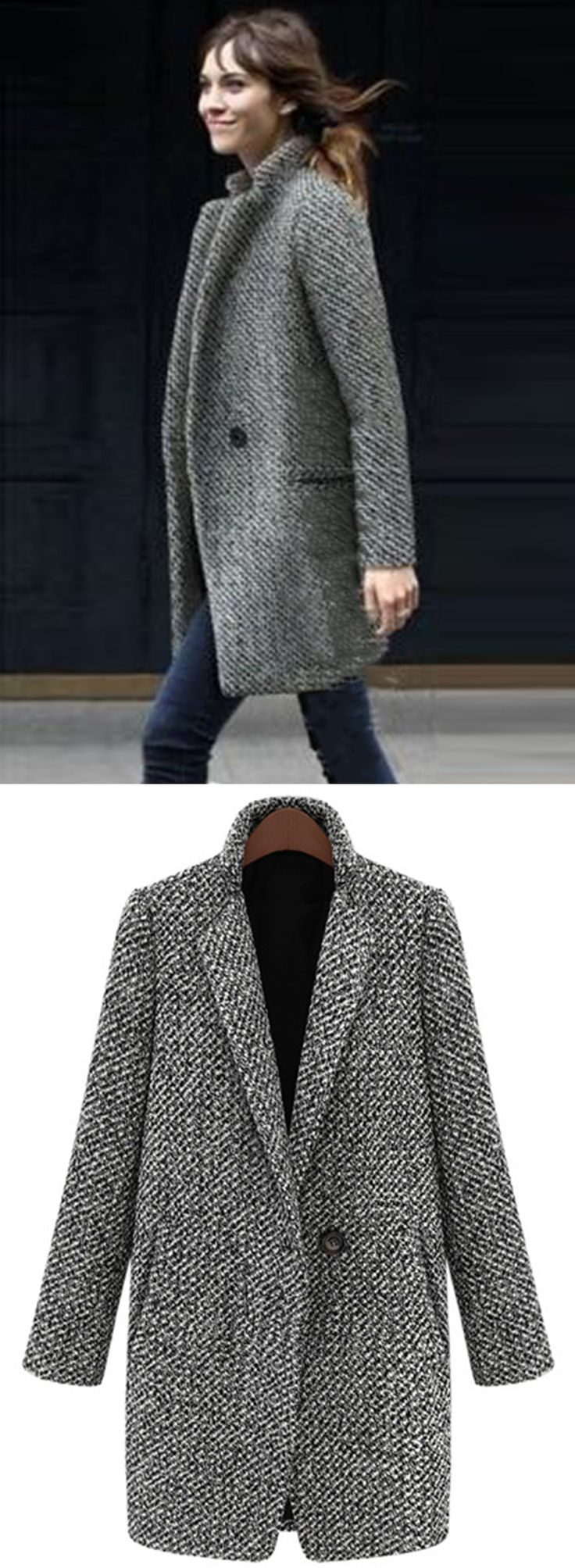 One Button Houndstooth Tweed Coat 2