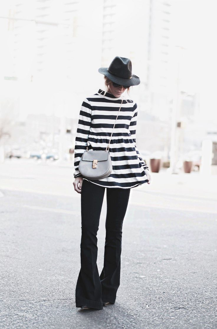 great outfit inspiration - striped tunic + flared jeans