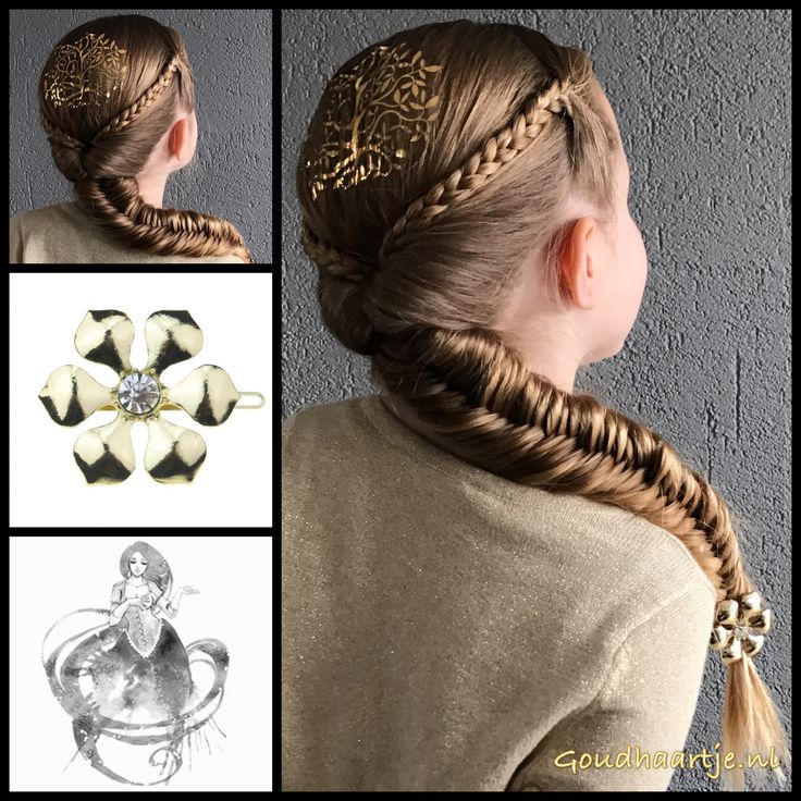 Fishtail braid and regular braid with a topsy tail part and a gorgeous hairclip from the webshop www.goudhaartje.nl