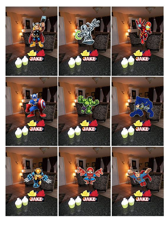 Diy quot small super hero squad birthday party centerpieces