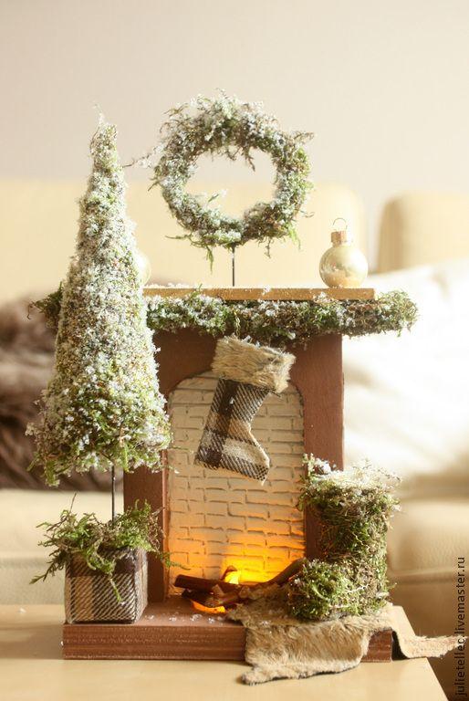 Купить Миниатюрный камин - коричневый, миниатюрный камин, украшение дома, Декор, новый год 2015, рождество