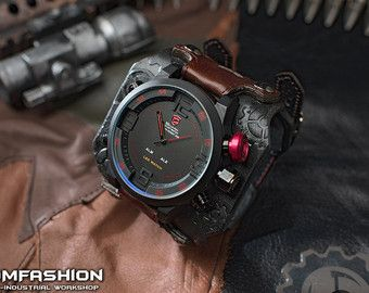 Cyberpunk men's wrist watch 'Neuromancer 3.0' by Atomfashion
