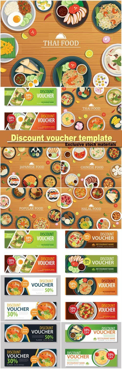 Discount Voucher Template And Various Food On Wooden Background