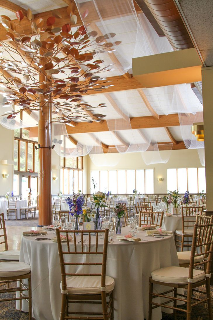 Wood Inspired Reception Hall With Gold Chiavari Chairs
