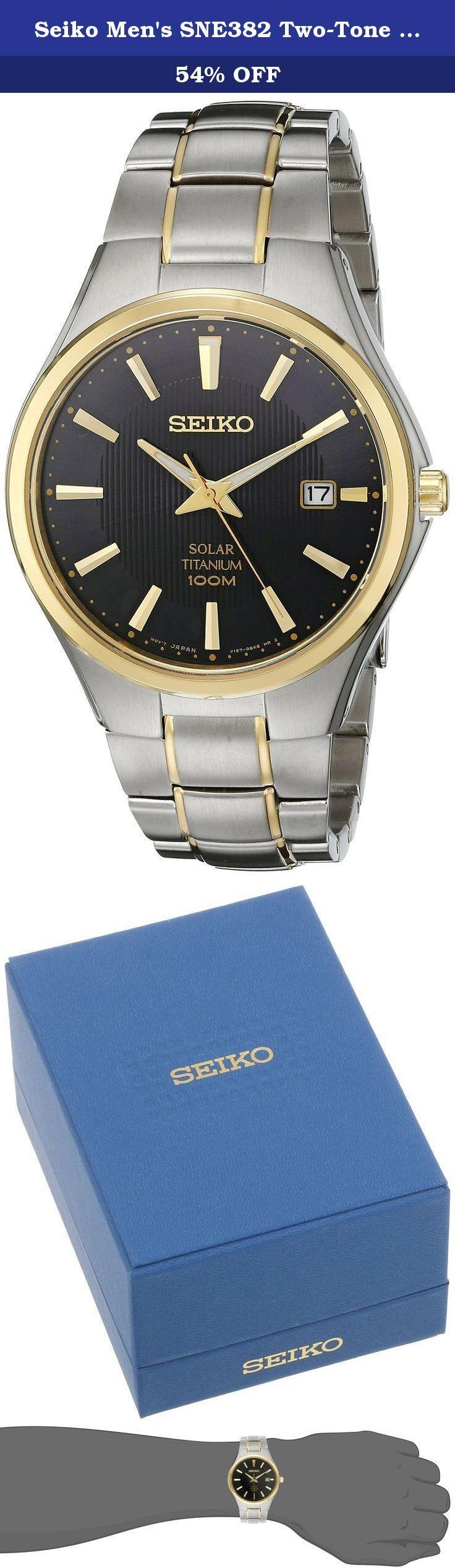 Seiko Men's SNE382 Two-Tone Titanium Watch. SEIKO CORE.