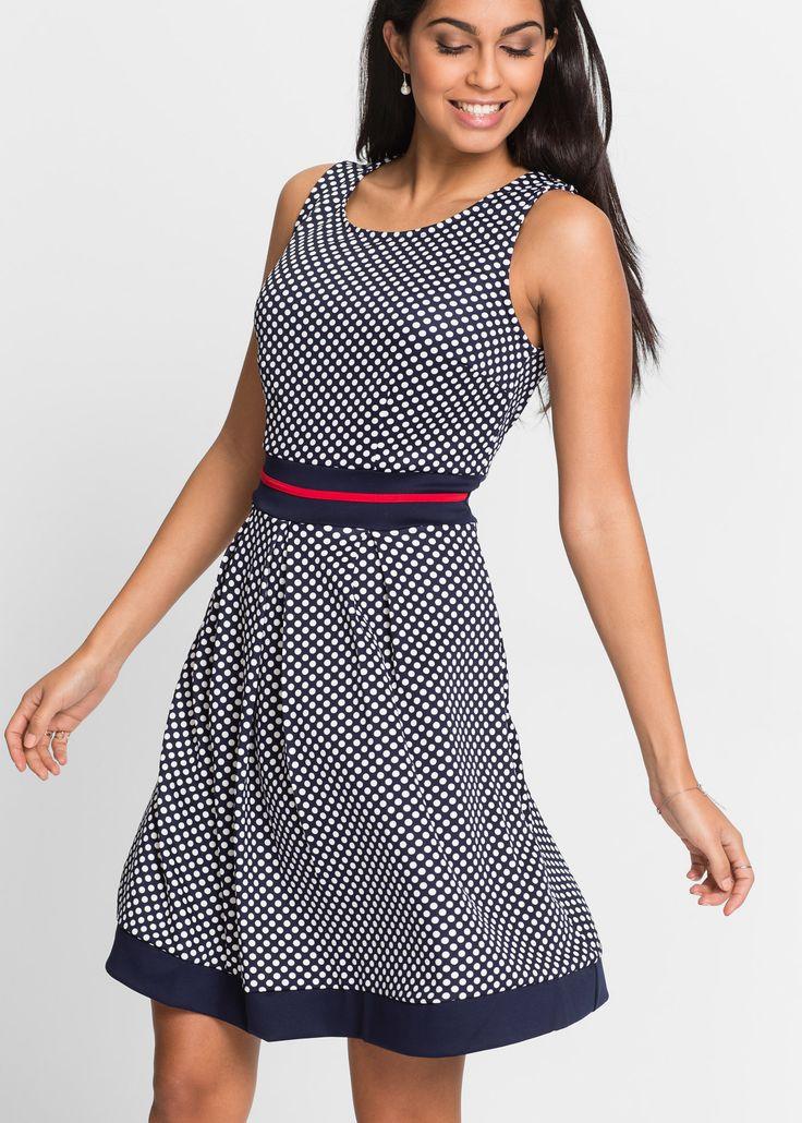 Bekijk nu:Vrouwelijke jurk met trendy stippeldessin met brede bandjes en ronde hals. Het inzetstuk in de taille is een mooi accent en zorgt voor een elegant silhouet. Het iets dikkere materiaal draagt heel comfortabel.