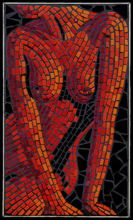 Nude depiction inspired by the astrology element Fire. Mosaic mural created in ceramic tiles by Brett Campbell Mosaics