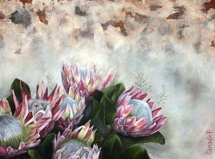 Bunch of light pink proteas, oil on canvas by Christelle Pretorius. www.christellepretoriusart.co.za