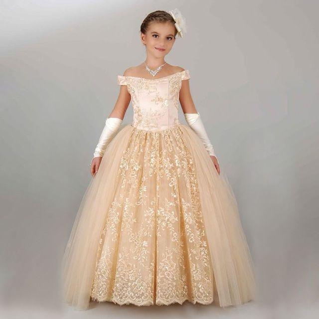 Nova Chegada Menina vestido de Baile Lindo Apliques Lace Up Fora Do Ombro Glitz Pageant Vestido Da Menina Flor Para O Natal Das Crianças