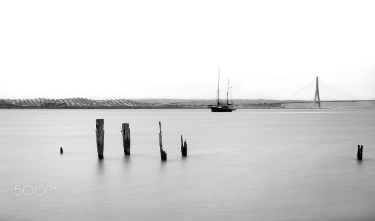 River of Tranquility - 22'' black and white long exposure of the Guadiana river taken in Huelva, Spain with Portugal on the other side.