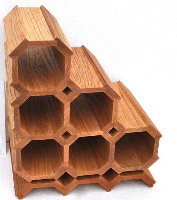 Exquisitely Handmade Oak Wine Rack with Unique Mirror by KAGUMISE