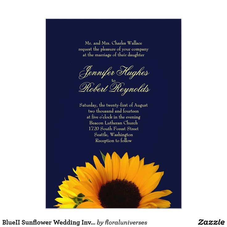 summer wedding invitation wording%0A Blue Sunflower Wedding Invitation Blue sunflower wedding invitation  You  can easily change text color