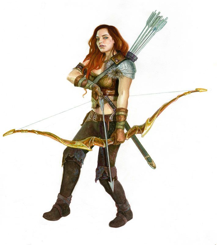 Human ranger (from the 5e Dungeons & Dragons Player's Handbook). Art by Alesssandra Pisano.