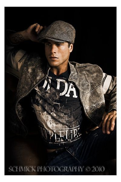 Man male model flat cap shirt leather jacket light black colour distressed aged vintage stripe SchMick imagery portrait portraiture fashion masculine fit fitness athlete athletic nutrition gym exercise jeans newsboy slick flash  smooth