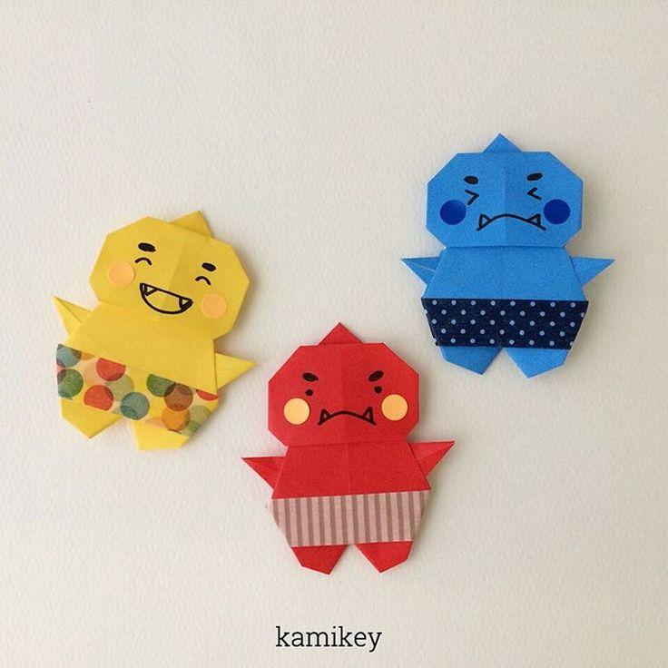"""2015.1.4 節分向け、折り紙一枚で作る「おに」。顔と身体、二枚で作るタイプも登場する予定です^ ^ 折り方はYouTube チャンネル、""""kamikey origami """"をご覧ください ※ Oni(ogre ) designed by me tutorial on YouTube """"kamikey origami """" #折り紙#origami ところで、折り紙動画にBGMがあるのとないの、どちらが好みですか?私は音楽ついてても音消してしまう方なのですが。"""