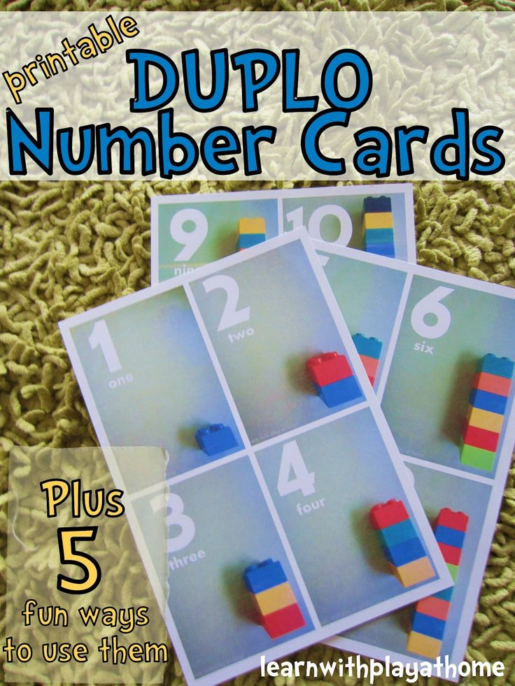 Learn with Play @ home: Printable Duplo Number Cards. Plus 5 fun ways to use them.