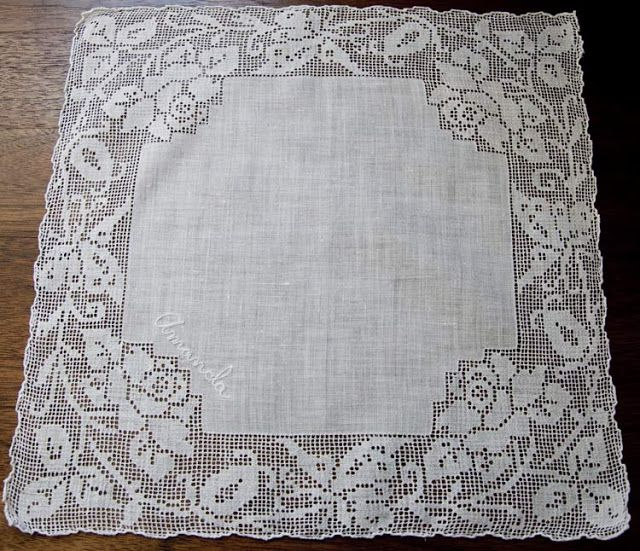 "Filet Crochet Edged Hankie with ""Amanda"" sewn on on corner."