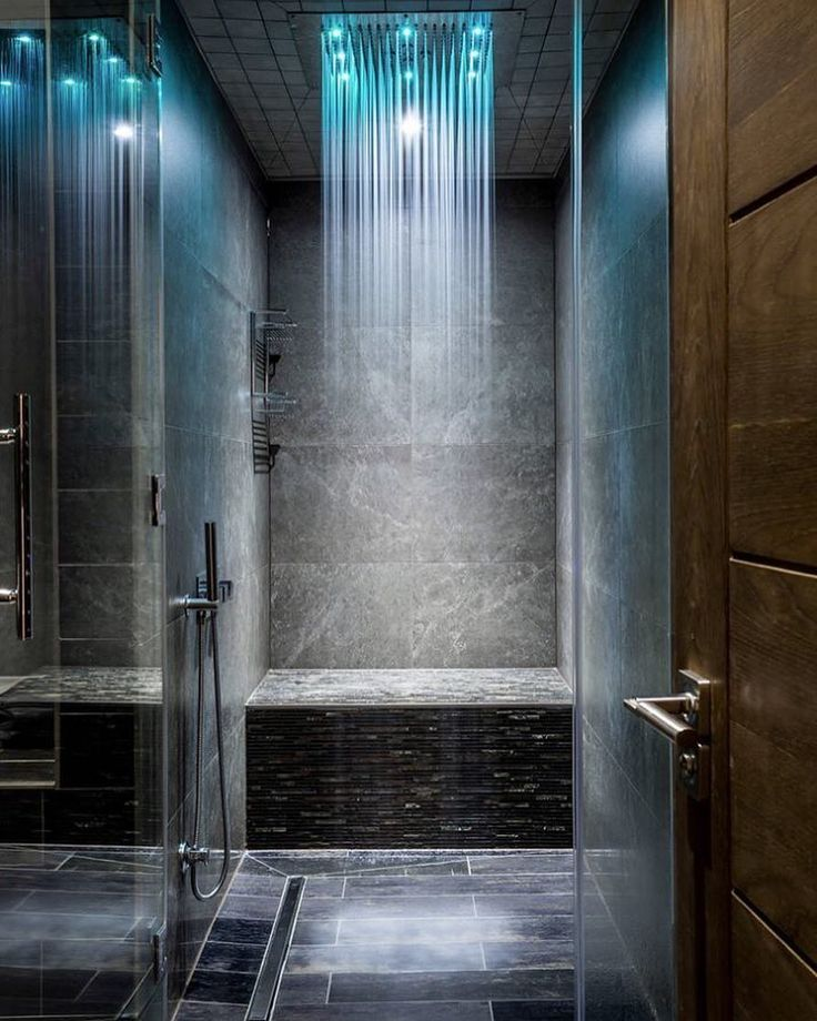 What do you think of this modern shower?  I love the cool blue LED lights!  www.tinablackmon.com http://ift.tt/26ea3DG