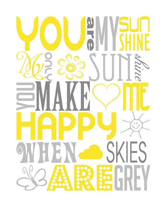 you are my sunshine baby shower gift nursery subway by PinkeeArt