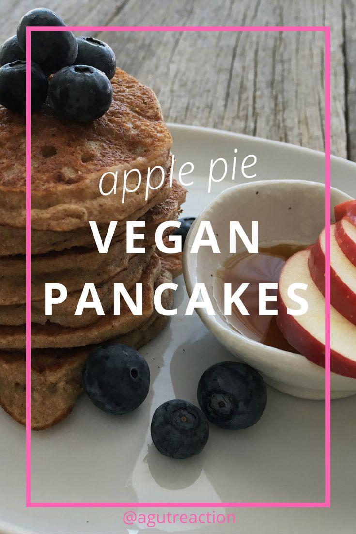 Apple Pie Vegan Pancake recipe, gluten free, dairy free, sugar free, fluffy and delicious!