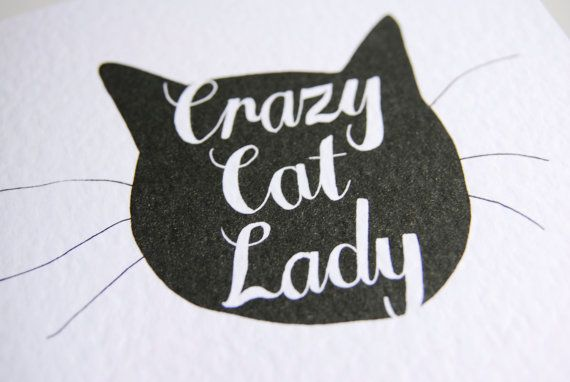 Crazy Cat Lady Card Hand Drawn Type by StacieSwift on Etsy