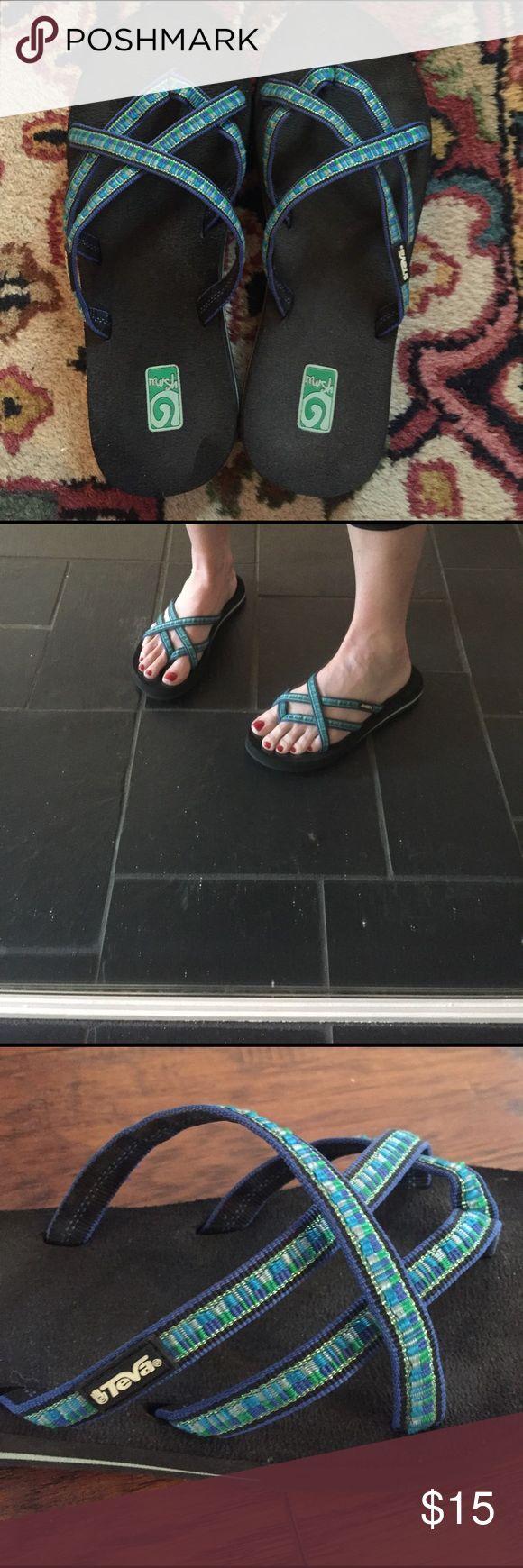 Teva flip-flop sandal. Bright blue pattern, 8 Teva flip-flop sandal. Bright blue pattern, women's 8, good condition. Teva Shoes Sandals