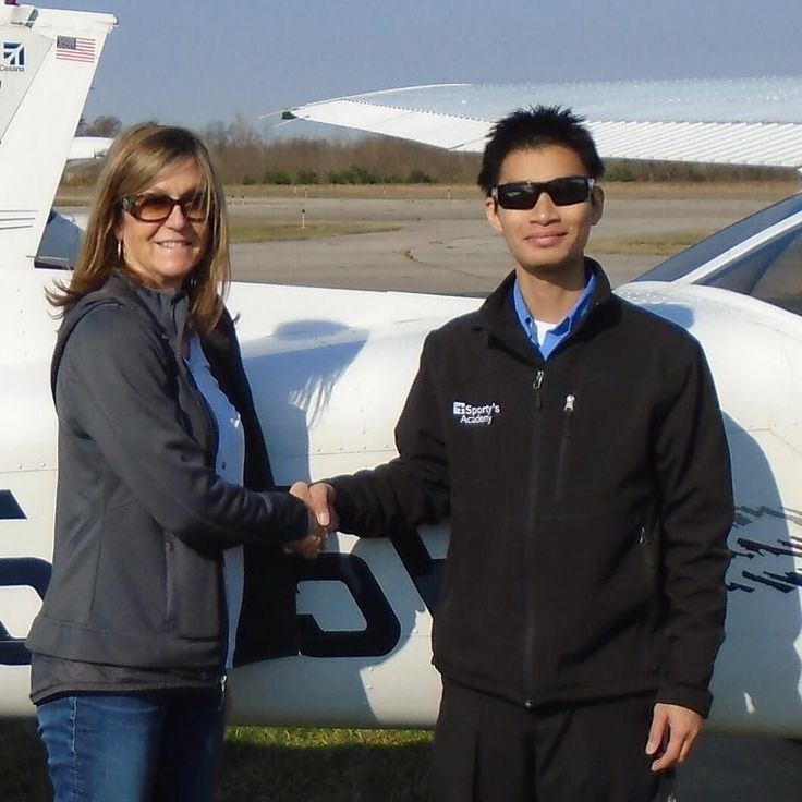 Jill Reider soloed in a single-engine aircraft on November 29 2017. This was Jills first flight as a student pilot without her instructor in the aircraft. Jill a resident of Ohio is studying to obtain her Private pilot certificate with Sportys Academy at the Clermont County Airport in Batavia Ohio.  A video of her flight is available at https://www.youtube.com/watch?v=yHIVviWR4Mo  Jill is pictured with her instructor Alan Nguyen.  #Congratulations #FirstSolo…