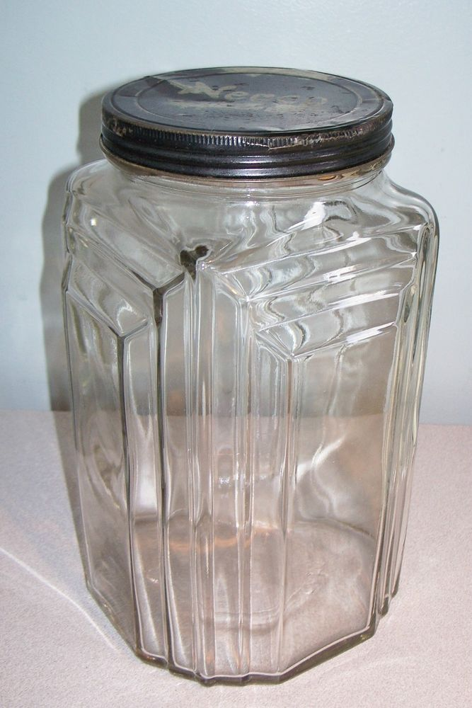 Vintage Art Deco NECCO CANDIES Country Store, Counter / Display Jar with Lid