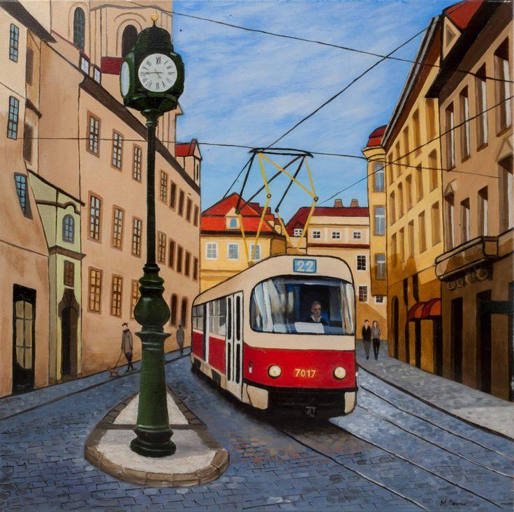 Prague Tram Art Print, Cityscape, Print, Prague, Tram, Original Art Print, Wall…