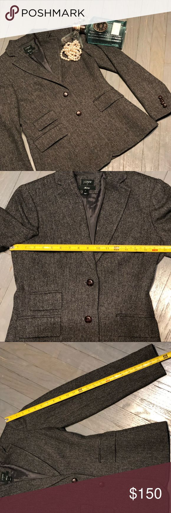 JCrew Hacking Herringbone Menswear Blazer Jacket J Crew Factory Hacking Jacket In Black and Grey Herringbone. Lapel Collar. Hits at Hip. Two Leatherette Covered Button Close. Four Functional Leatherette Buttons at Cuffons. Fully Lined. Center Back Vent. Three Outside Flap Pockets. One Outside Breast Pocket. Menswear Inspired. Measurements in pictures. Excellent condition 55% Wool 45% Polyester STYLE 98609 J. Crew Jackets & Coats Blazers