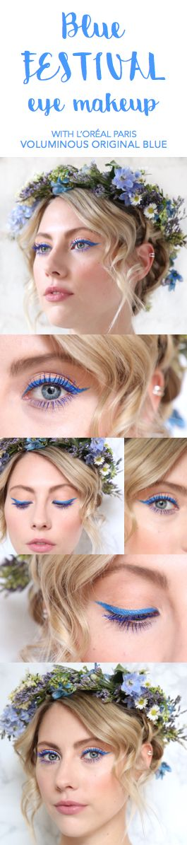 Blue festival eye makeup look featuring Voluminous Blue Mascara and Infallible Paints Eyeliner in Electric Blue.
