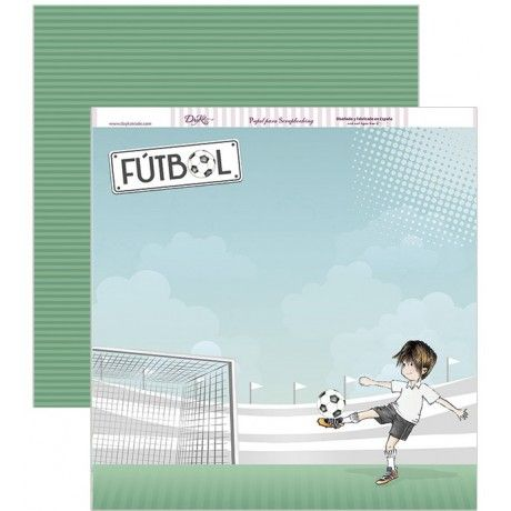 Papel scrap con un campo de fútbol y un niño jugando #scrap #conideade #manualidades