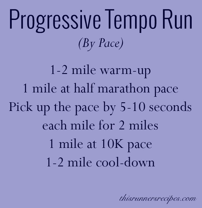 Progressive Tempo Run Workout (By Pace)   This Runner's Recipes