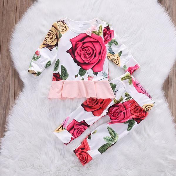 Floral Roses Top+Pants 2pc Set – Mamatree