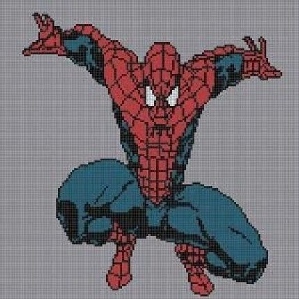 Free Spiderman Knitting Patterns : SPIDERMAN FULL BODY CROCHET PATTERN AFGHAN GRAPH FOR CROSS STITCH AND KNITTIN...