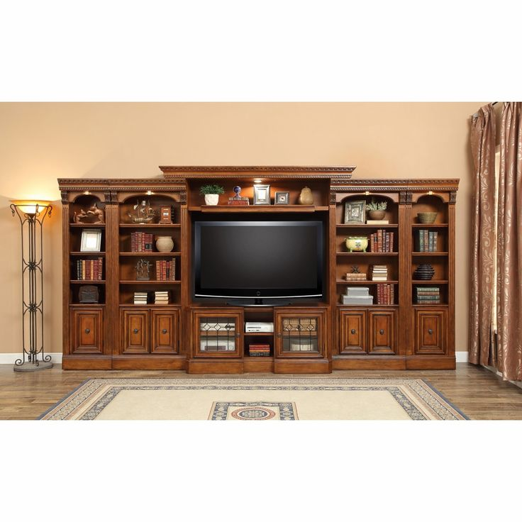 Parker House – Huntington 6PC Library Entertainment Wall Set A in Antique Vintage Pecan