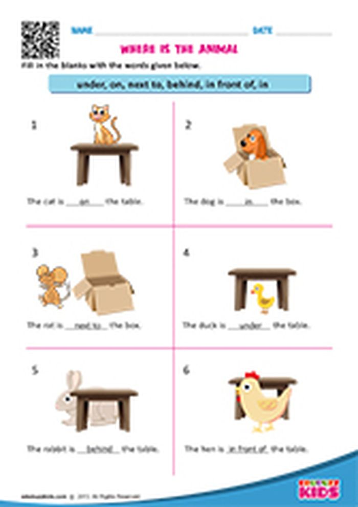 In And On Worksheets For Kindergarten
