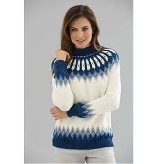 The crystal-like border pattern gives you a cool looking sweater you'll want to wear all winter. (Lion Brand Yarn)
