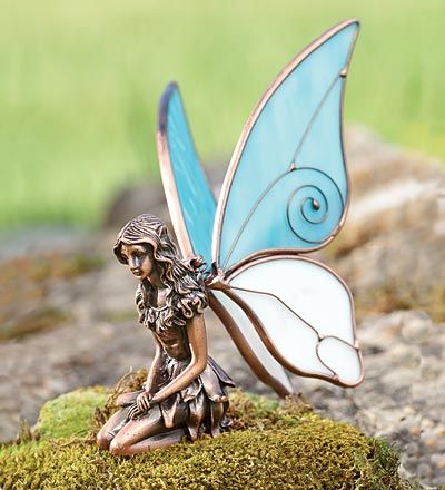 Pair of Kneeling Copper Fairy Statues