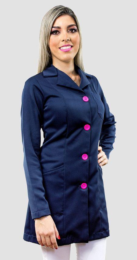 2ca5af1b3a Jaleco Acinturado Azul Marinho Com Botões Pink
