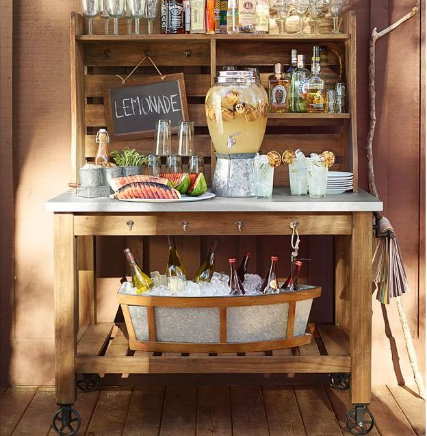 9 Outdoor Patio Kitchens For Party Perfect Entertaining: Use Potting Bench As Outdoor Beverage Station.
