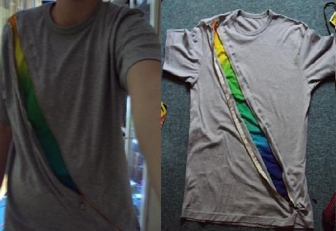 Zipper T Shirt Recon - could be cute with school or team colors or logos or, maybe, words of inspiration or significance