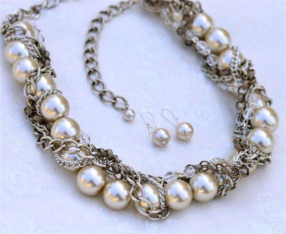 Klobige Halskette und Ohrringe festgelegt Hochzeit Schmuck