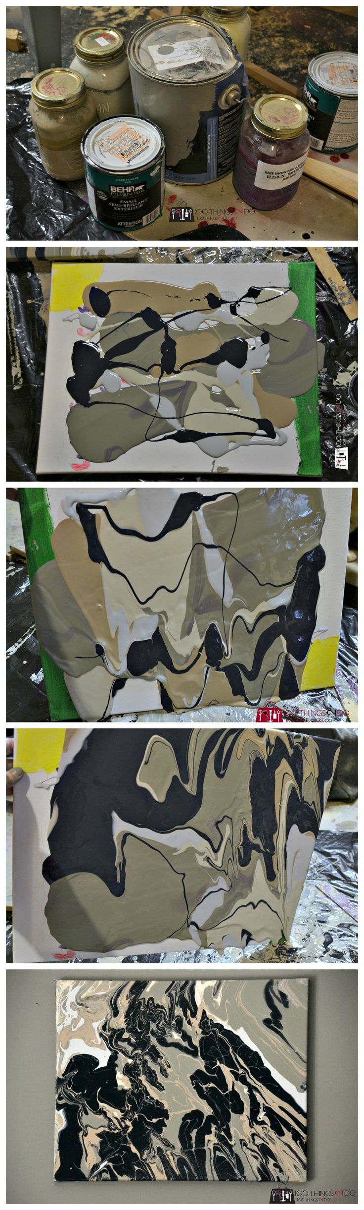 Create your own abstract art using leftover paints and canvas - beautiful, easy and inexpensive