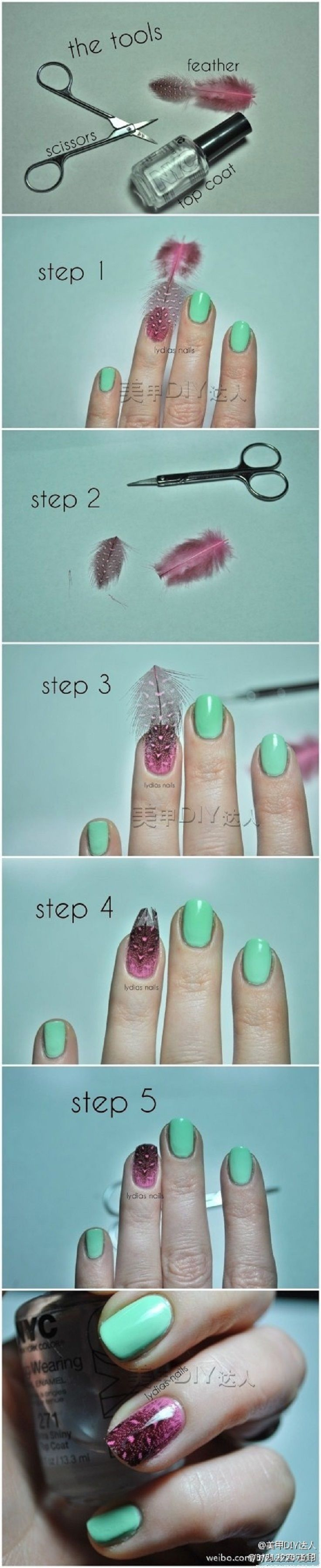 Top 10 DIY Easy Nail Ideas. Great for bird owners! Save those feathers that fall to the ground! :)